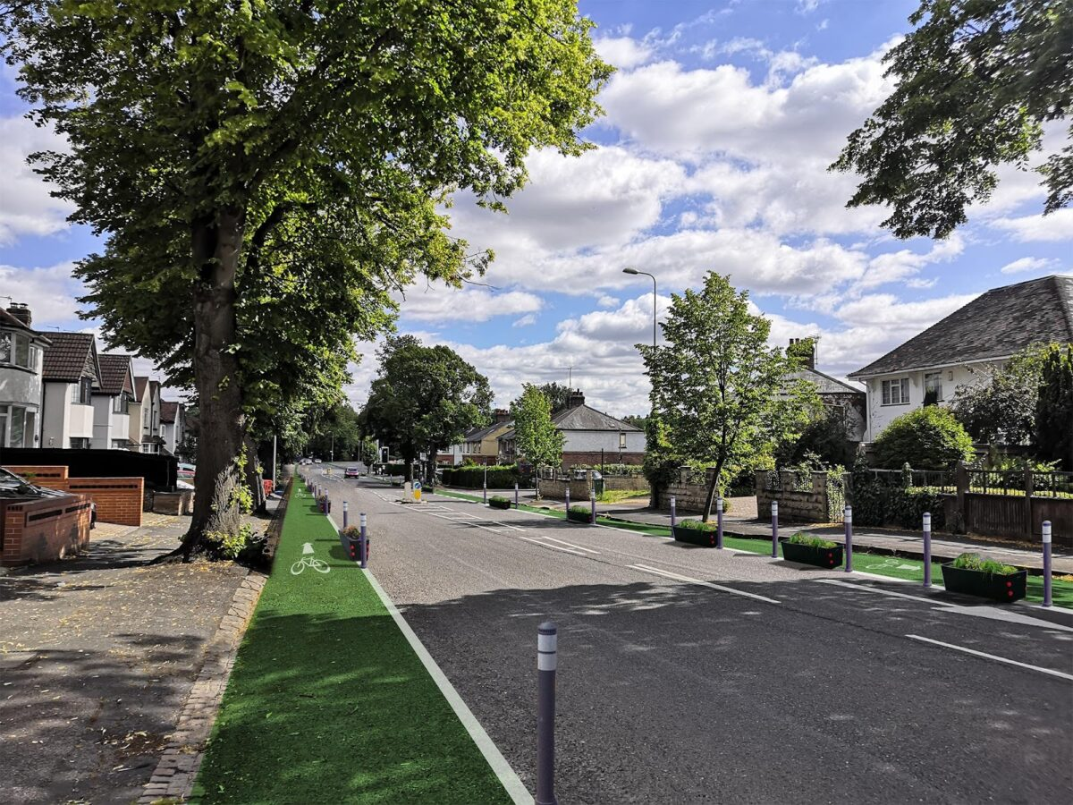 Visualisation of Iffley Road with segregated cycle lanes designed by Andy Coram