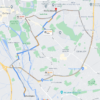 A Google Map showing the recommended way to drive to Kennington from Cheney School in Headington is via Divinity Road.
